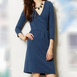 HD Paris Anthro polkadot textured faux wrap dress